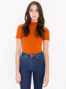 American Apparel Ponte Neck Short Sleeve Top $45 http://store.americanapparel.net/ponte-mock-neck-short-sleeve-top_rsapo305?c=Umber